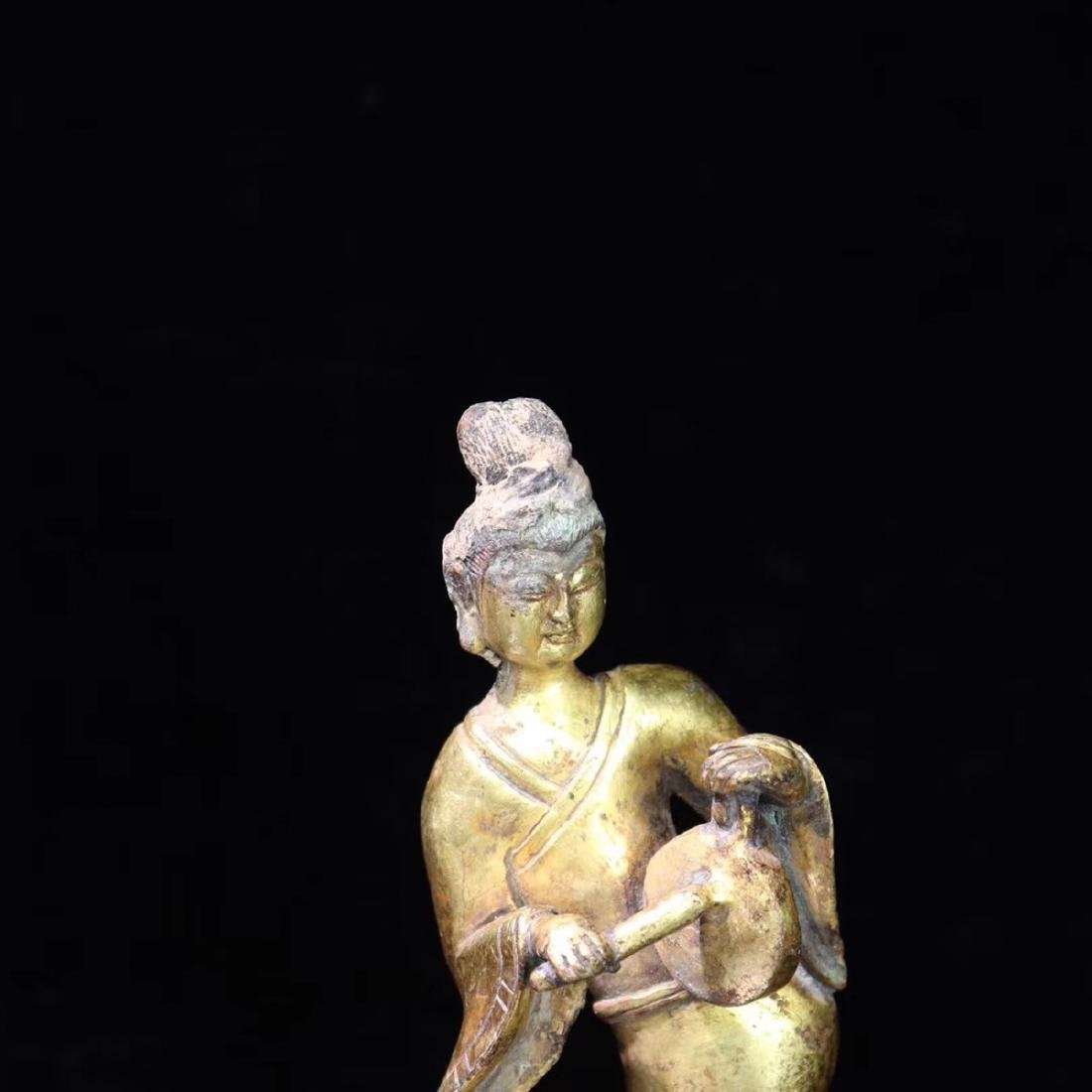 A GILT BRONZE LADY FIGURE - 6