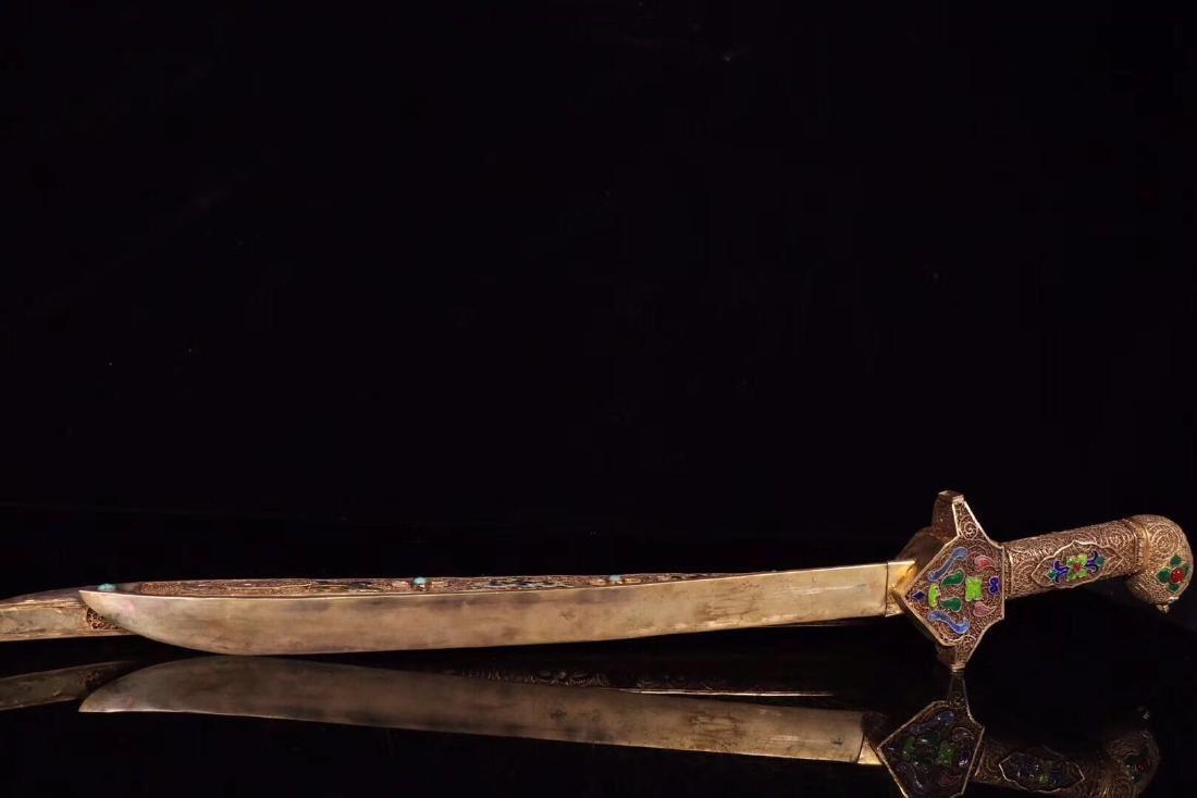 A SILVER GILT GOLDEN SILK FLOWER PTTERN SWORD - 4