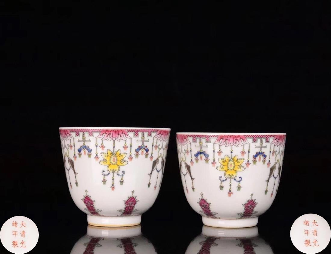 PAIR FAMILE-ROSE FLORAL PATTERN CUP