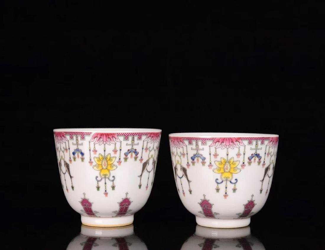 PAIR FAMILE-ROSE FLORAL PATTERN CUP - 2