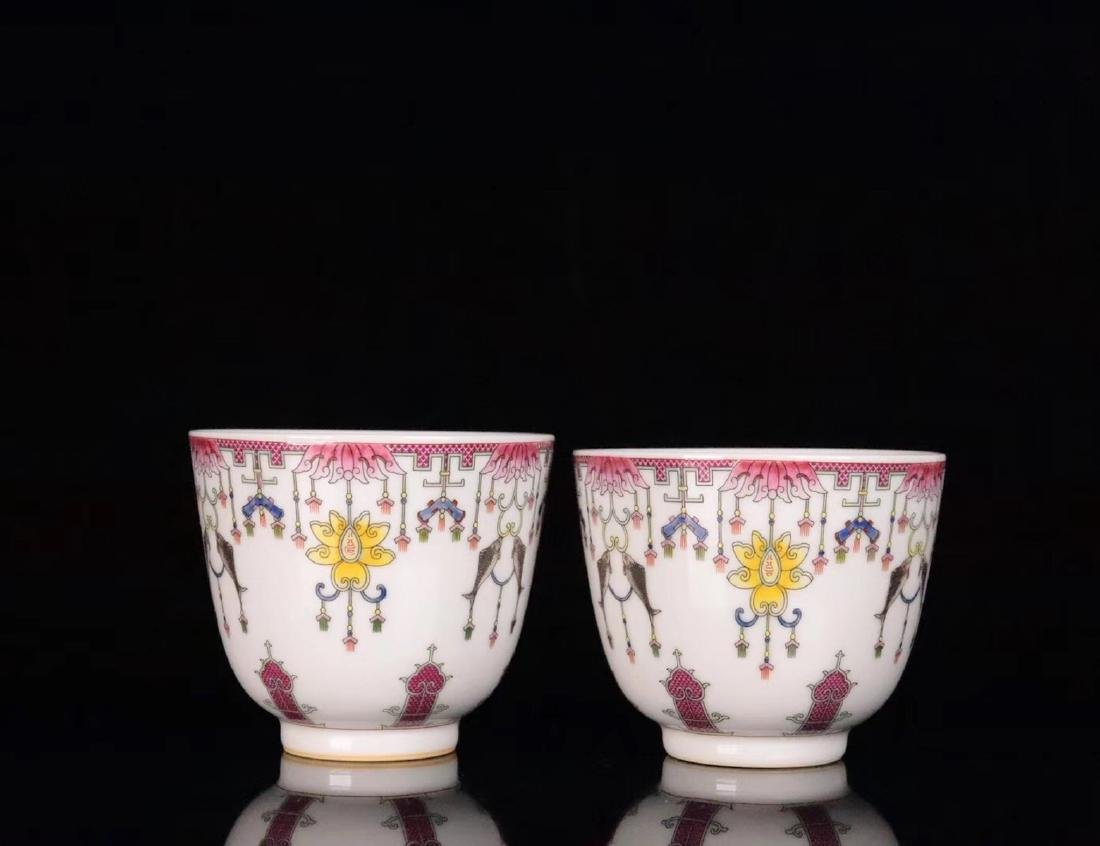 PAIR FAMILE-ROSE FLORAL PATTERN CUP - 3