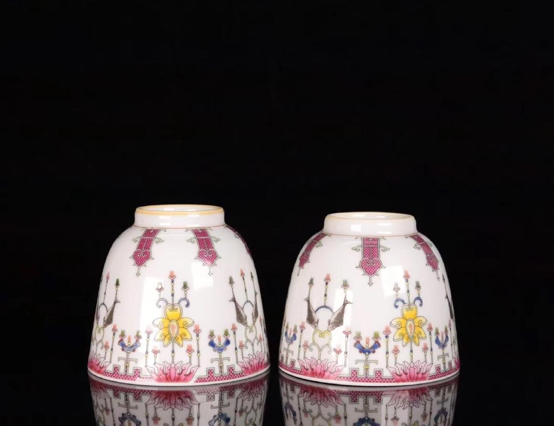 PAIR FAMILE-ROSE FLORAL PATTERN CUP - 5