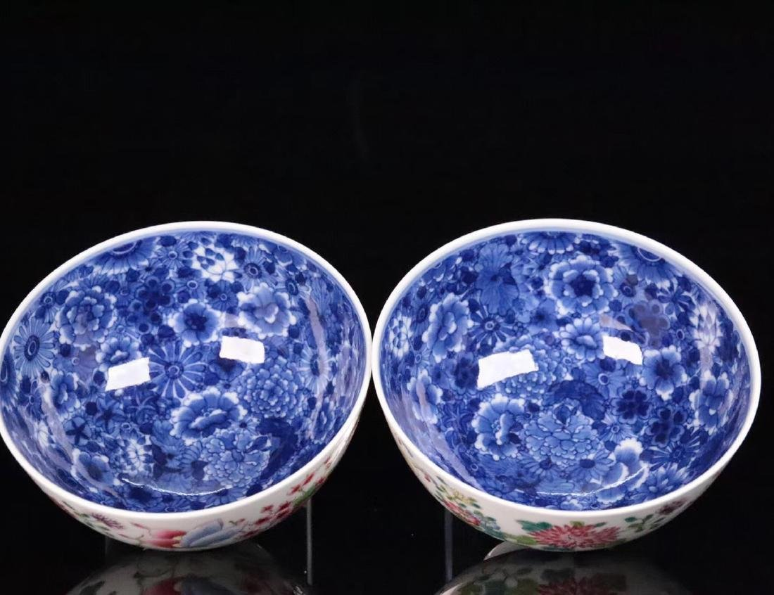 A FAMILE-ROSE FLORAL AND BUTTERFLY PATTERN BOWL - 5