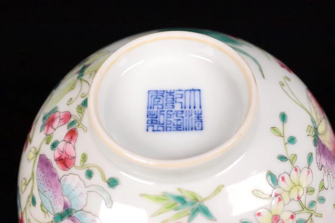 A FAMILE-ROSE FLORAL AND BUTTERFLY PATTERN BOWL - 8