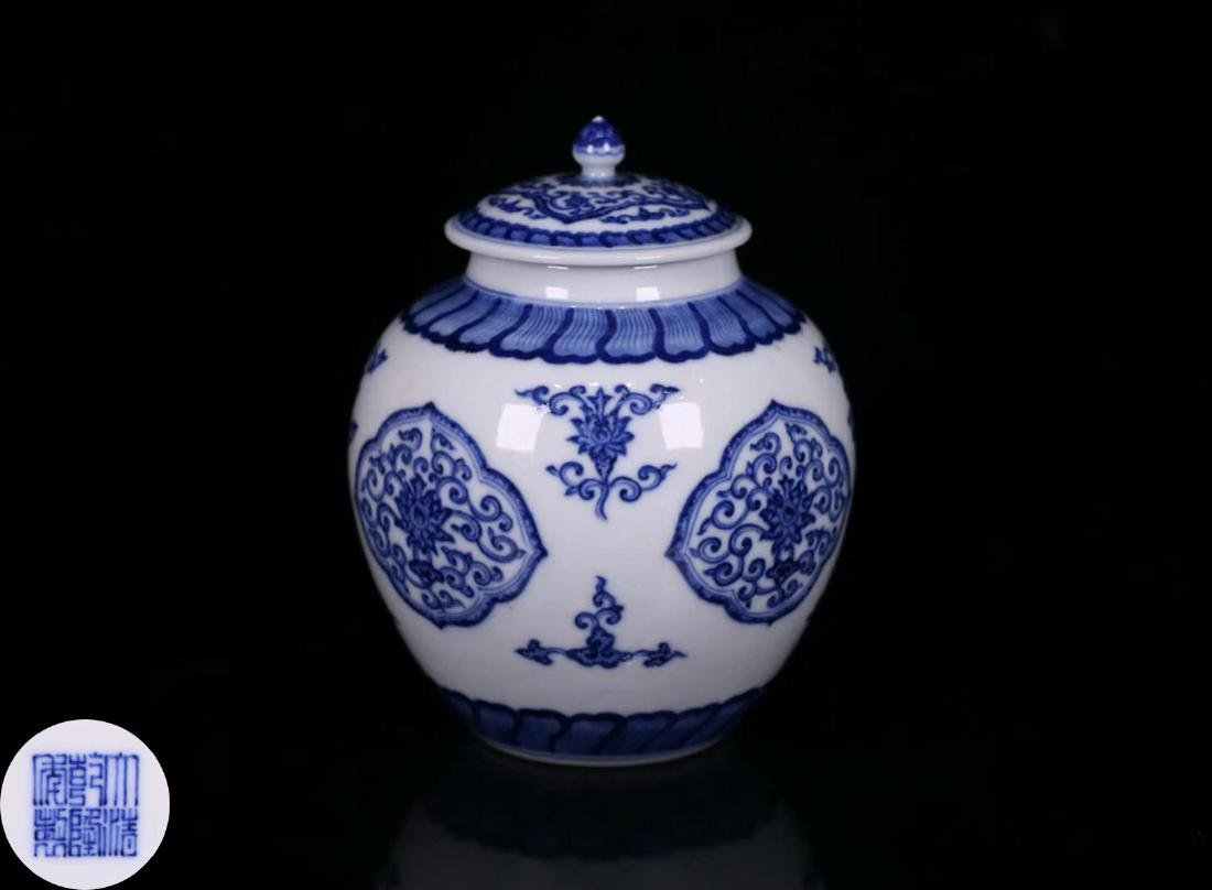 A BLUE&WHITE PORCELAIN WRAPPED FLORAL PATTERN JAR