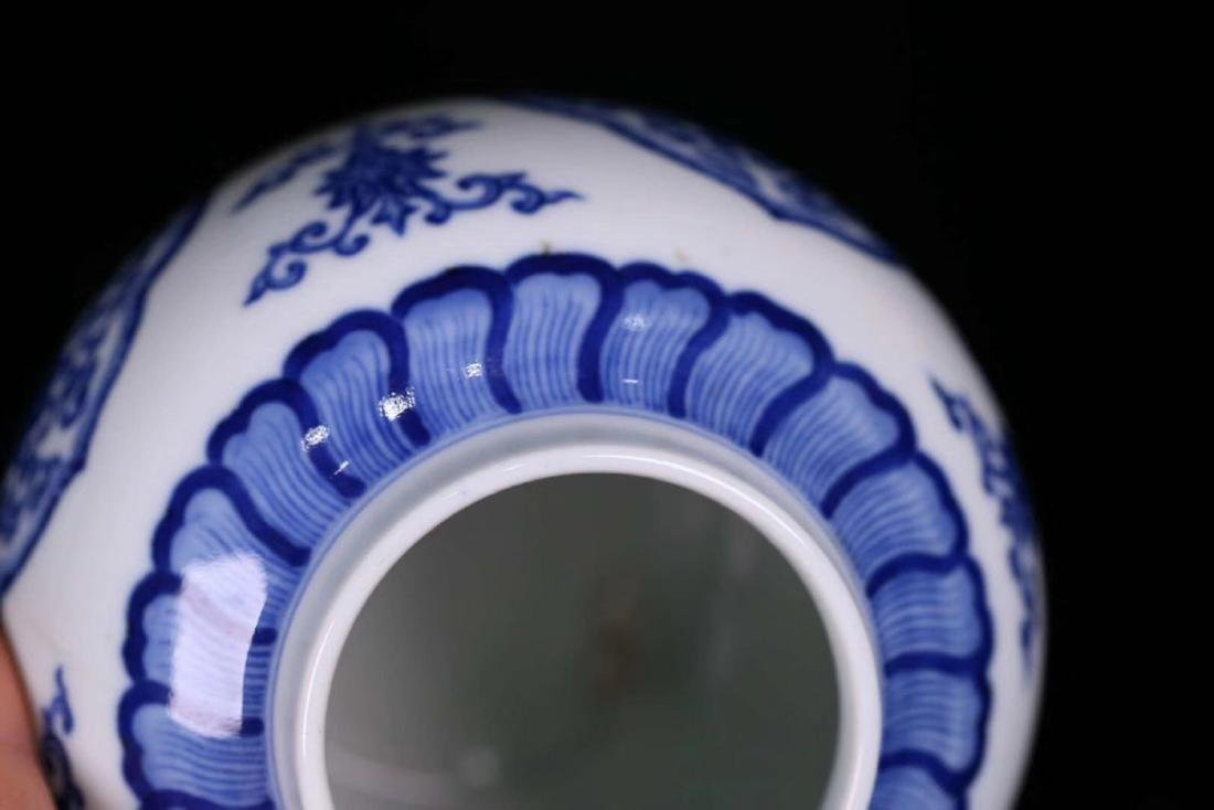 A BLUE&WHITE PORCELAIN WRAPPED FLORAL PATTERN JAR - 9