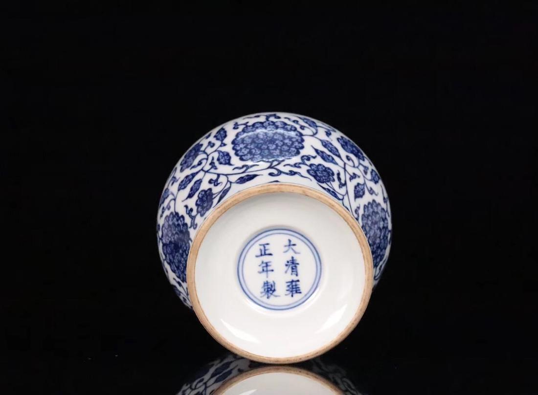 A BLUE&WHITE PORCELAIN WRAPPED LOTUS PATTERN VASE - 6