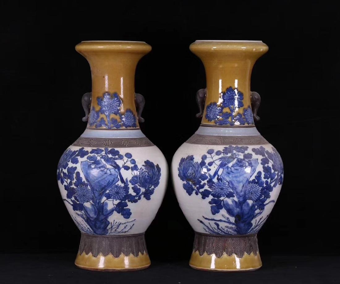 PAIR BLUE AND WHITE FLORAL PATTERN VASES - 2