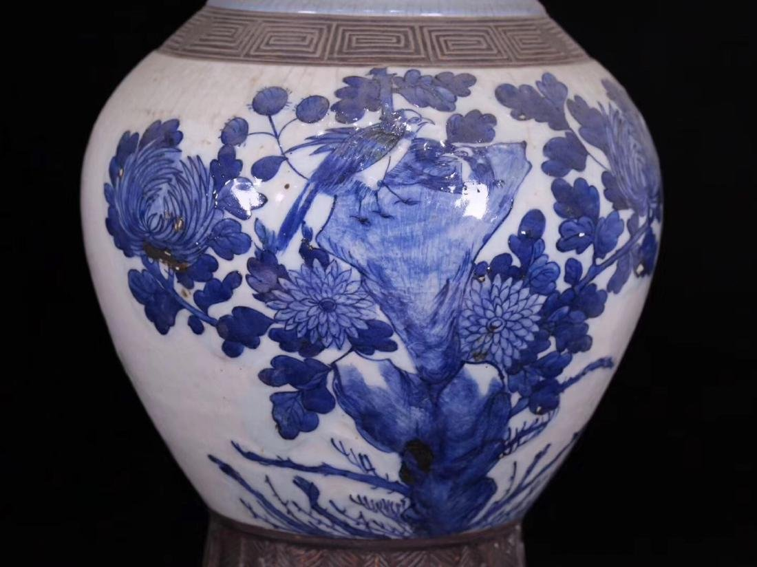 PAIR BLUE AND WHITE FLORAL PATTERN VASES - 7