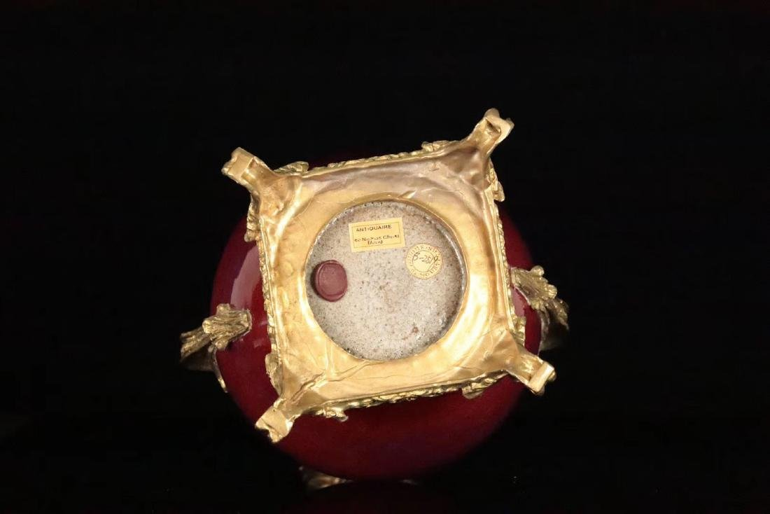 A COPPER DECORATED FLAMBE-GLAZE VASE - 9