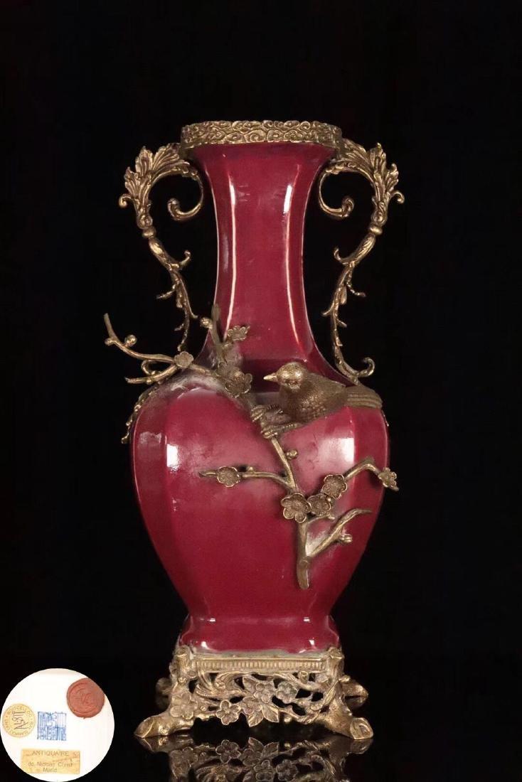 A OLD RED GLAZE COOPER GILT XISHANGMEISHAO VASE