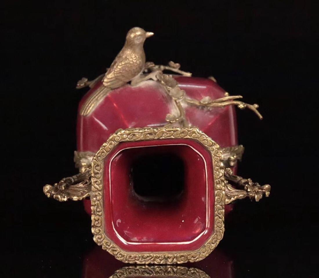 A OLD RED GLAZE COOPER GILT XISHANGMEISHAO VASE - 2