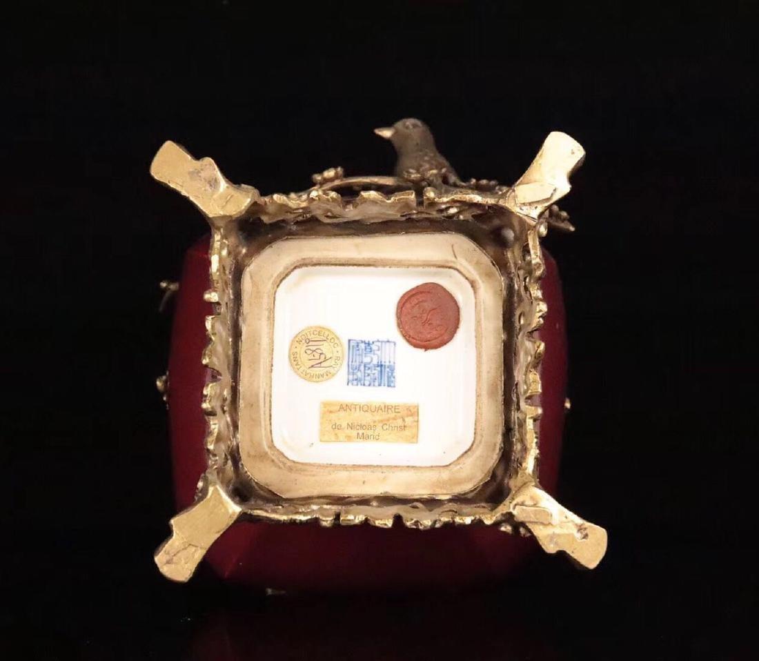 A OLD RED GLAZE COOPER GILT XISHANGMEISHAO VASE - 9