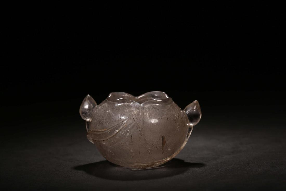 THE REPUBLIC OF CHINA, A NATURAL CRYSTAL CARVED LOTUS - 5