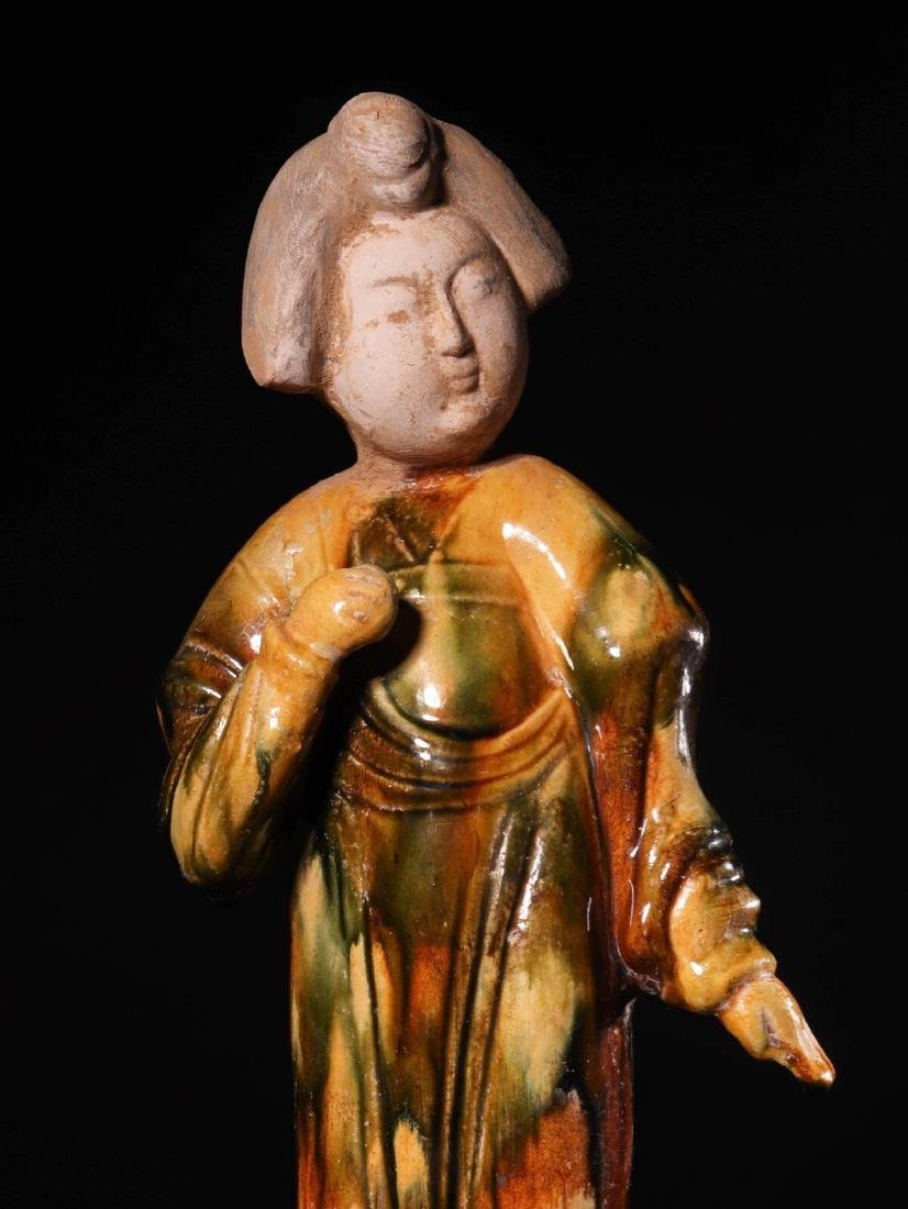(618-907 CE) A TANG TRI-COLOR GLAZED FAT GIRL STATUE, - 2