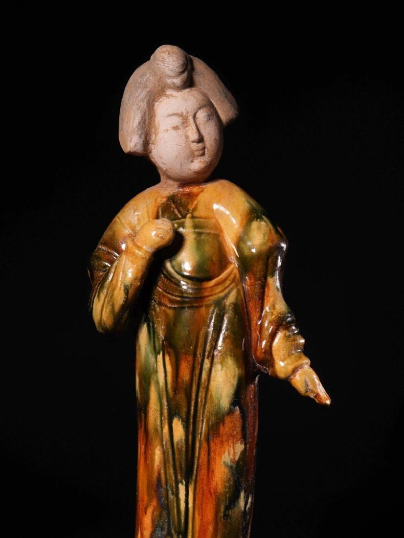 (618-907 CE) A TANG TRI-COLOR GLAZED FAT GIRL STATUE, - 3