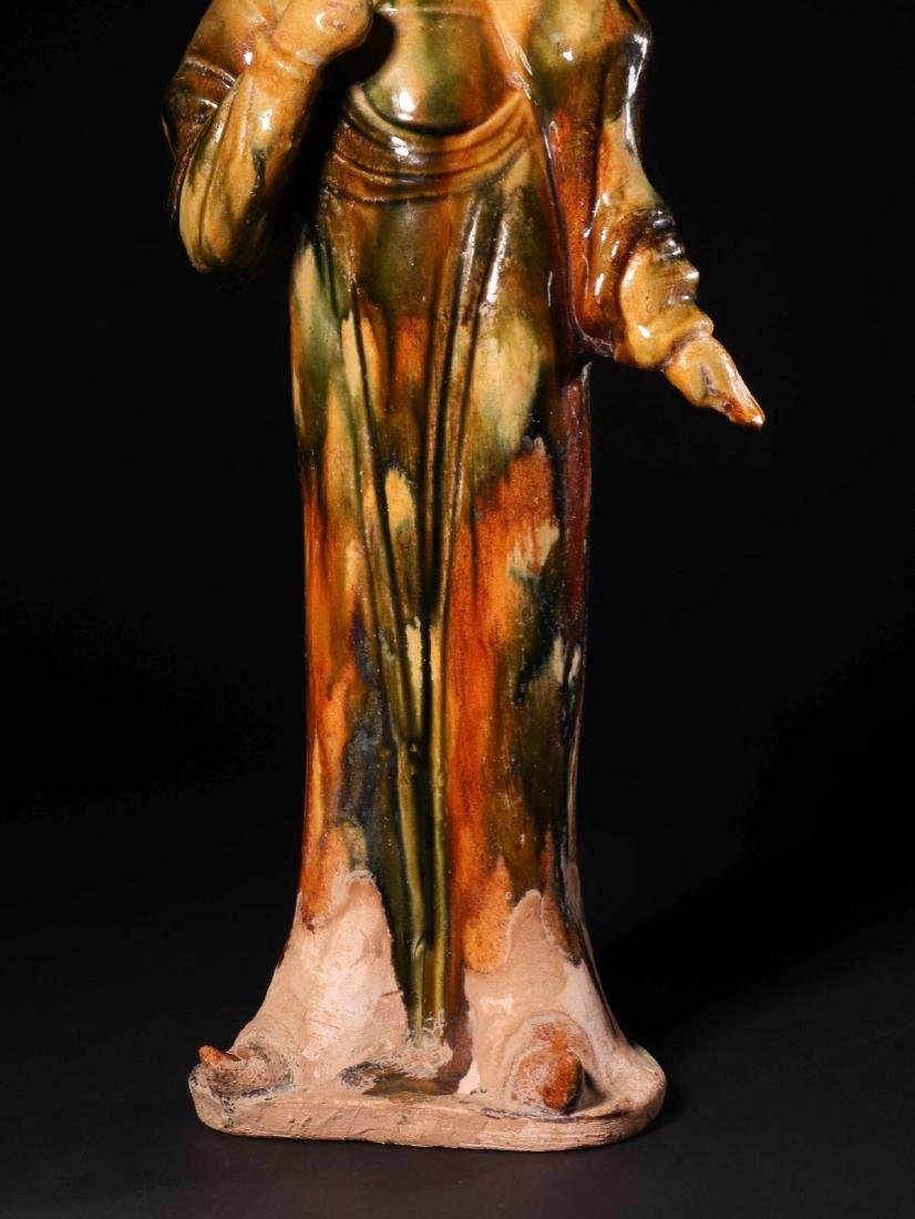 (618-907 CE) A TANG TRI-COLOR GLAZED FAT GIRL STATUE, - 5