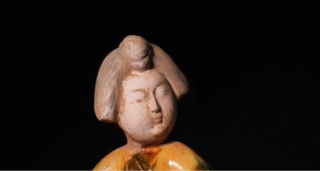 (618-907 CE) A TANG TRI-COLOR GLAZED FAT GIRL STATUE, - 6