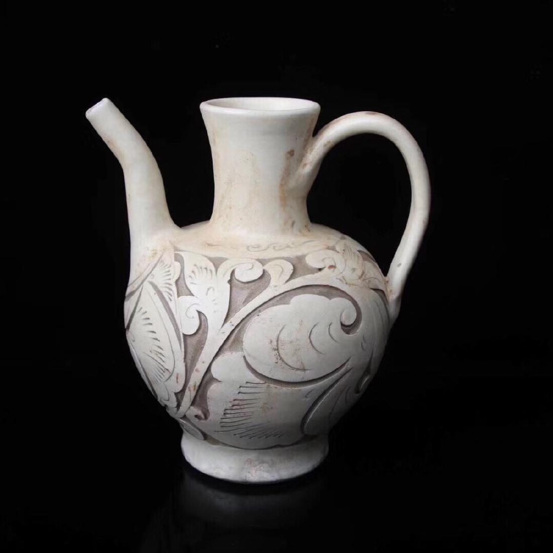 (960-1279) A YAOZHOU KILN WINE POT, SONG DYNASTY