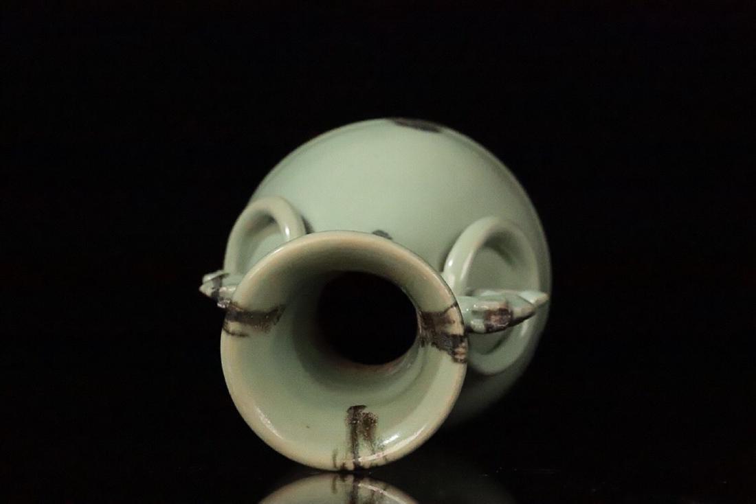 13-14TH CENTURY, A COLOURED DOUBLE-EAR PORCELAIN VASE, - 5