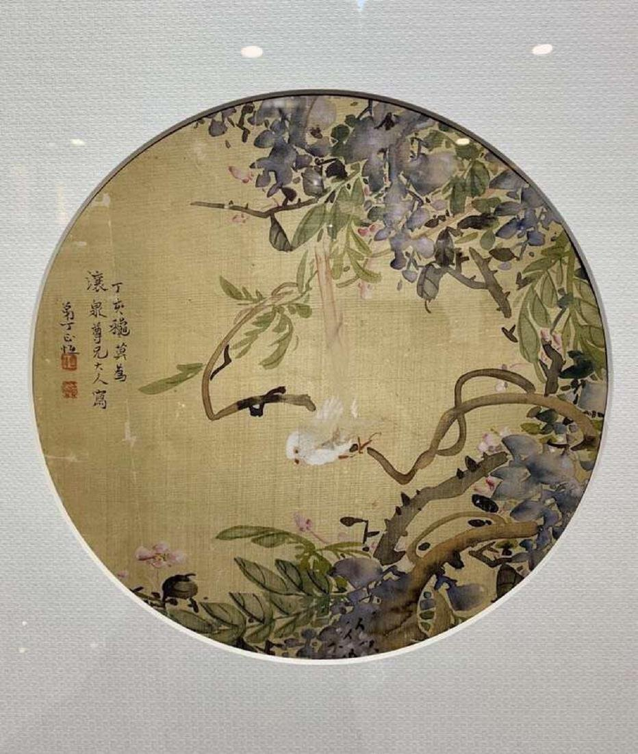 17-19TH CENTURY, A FLORIAL DESIGN FAN PAINTING, QING - 2