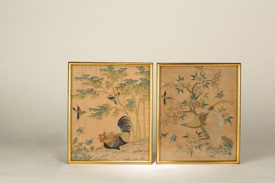 17-19TH CENTURY, A LANDSCAPE EMBROIDERY, QING DYNASTY