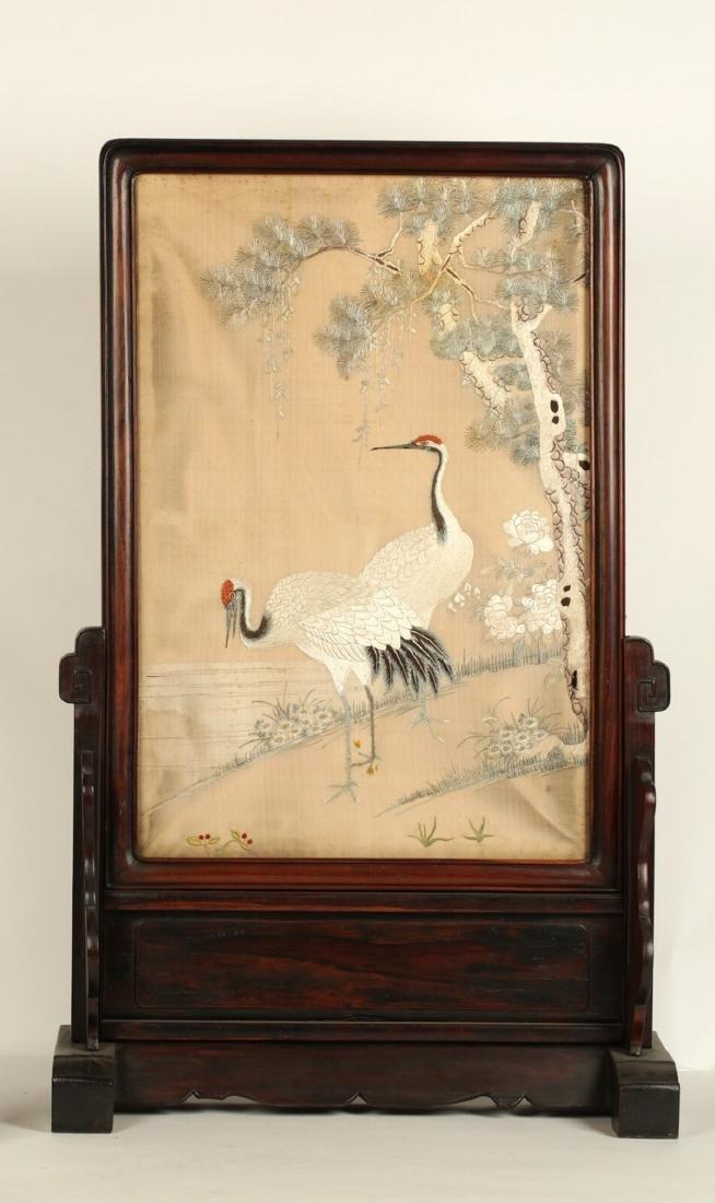 17-19TH CENTURY, A BIRD EMBROIDERY, QING DYNASTY