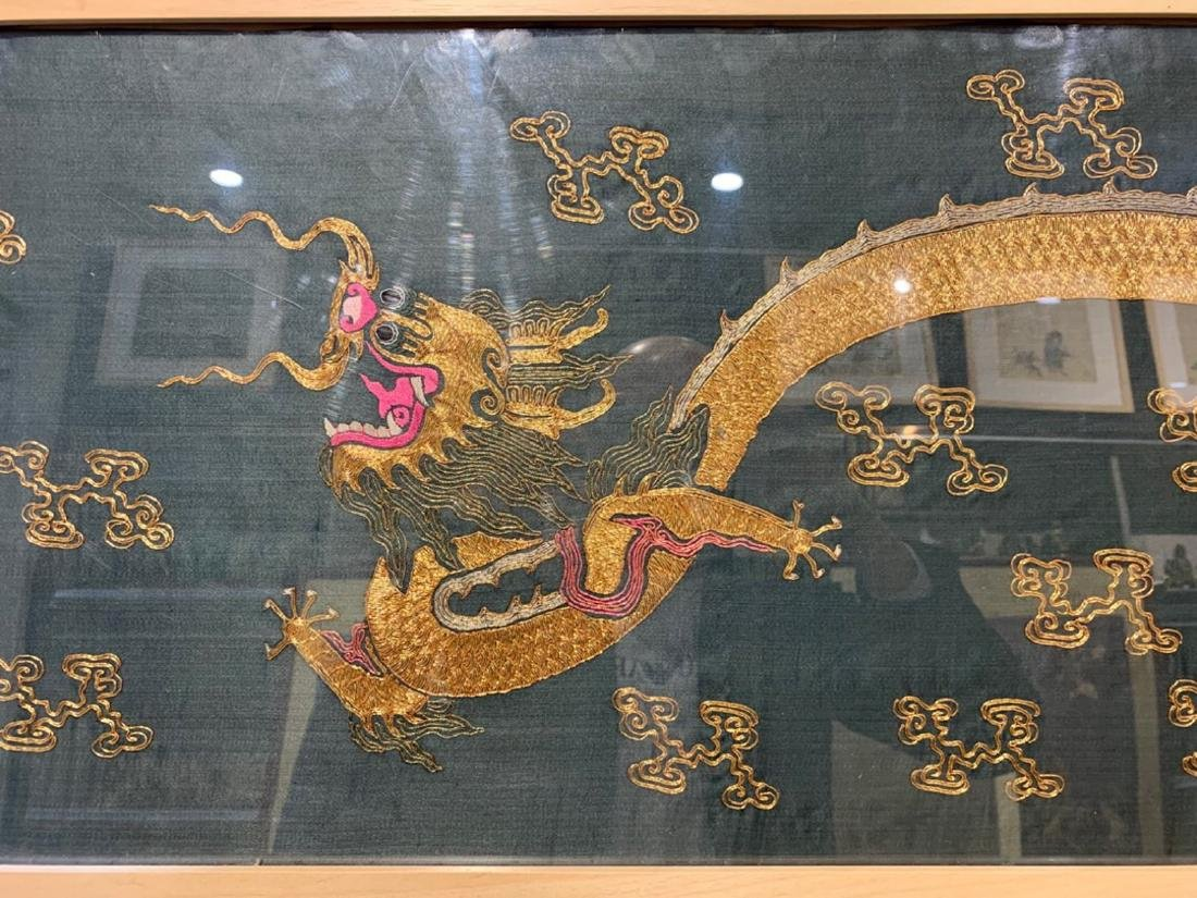 17-19TH CENTURY, A DRAGON DESIGN EMBROIDERY BANNER , - 6