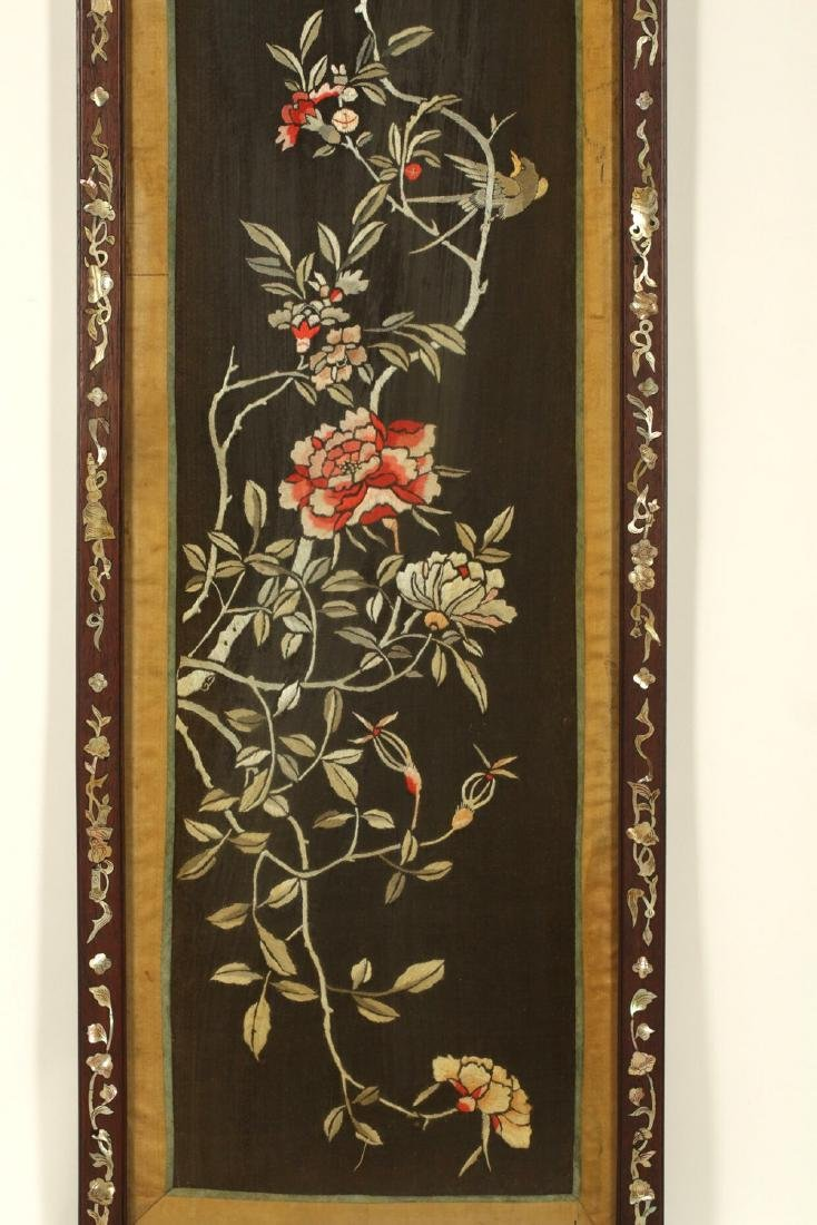 17-19TH CENTURY, A FLORIAL PATTERN EMBROIDERY, QING - 2