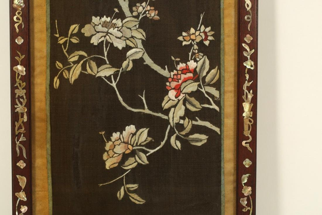 17-19TH CENTURY, A FLORIAL PATTERN EMBROIDERY, QING - 4