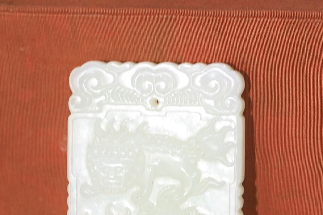 17-19TH CENTURY, A HETIAN JADE LION DESIGN PENDANT, - 2