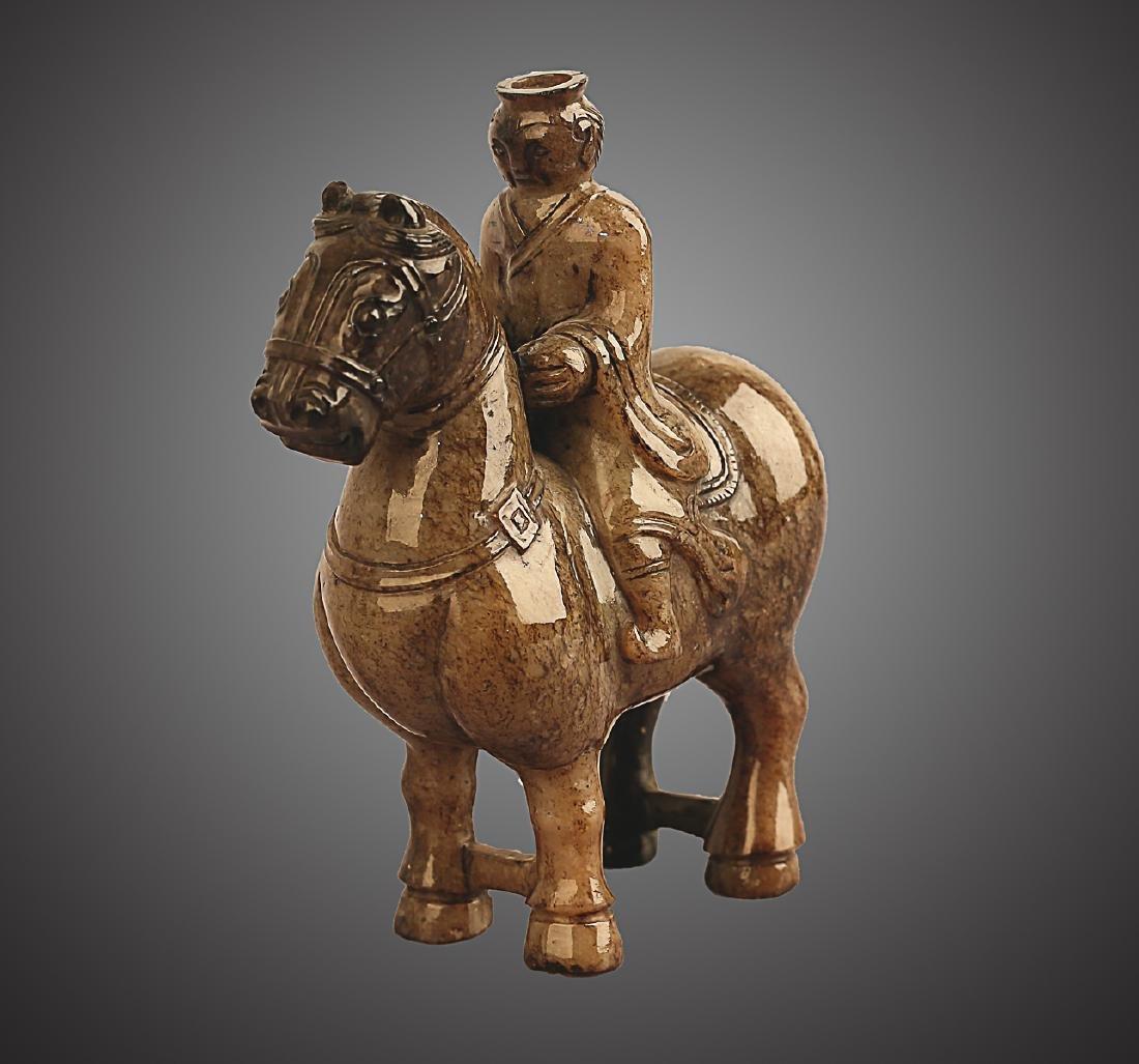 206 BC-220 AD, A HORSE RIDING PATTERN HETIAN JADE , HAN