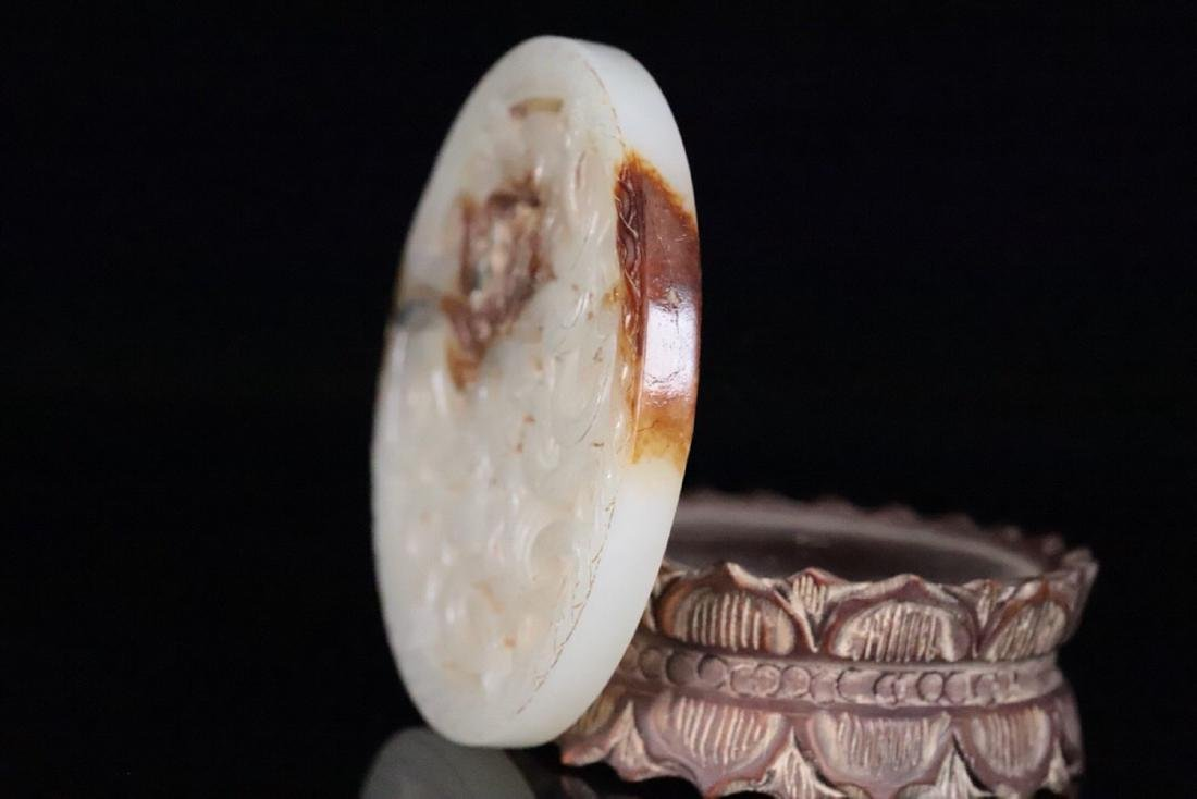 AN OLD TIBETAN DRAGON HETIAN JADE BI - 5