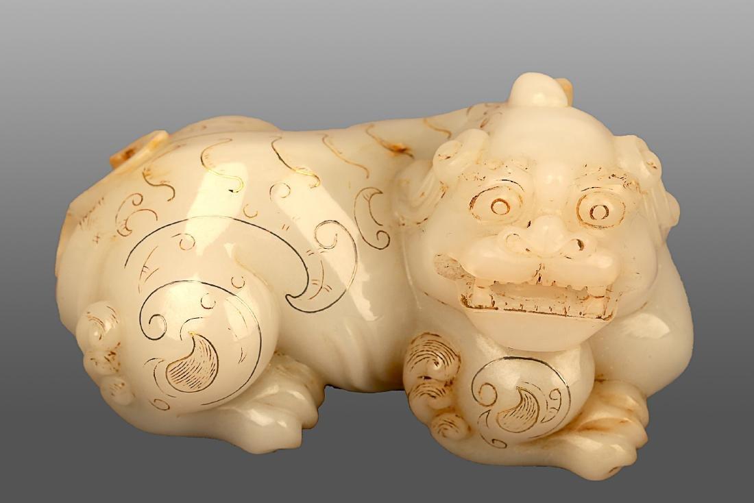 206 BC-220 AD, A AUSPICIOUS ANIMAL WHITE JADE ORNMENT,