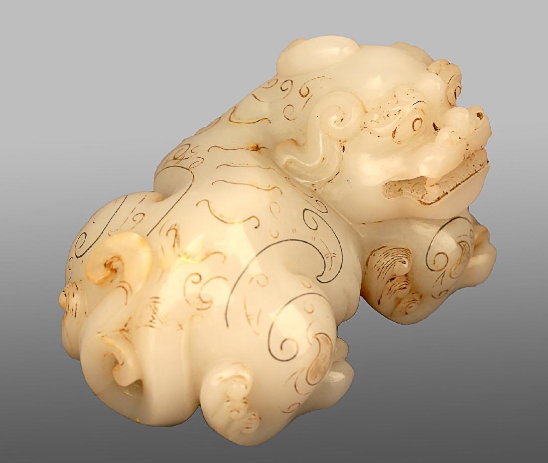 206 BC-220 AD, A AUSPICIOUS ANIMAL WHITE JADE ORNMENT, - 2