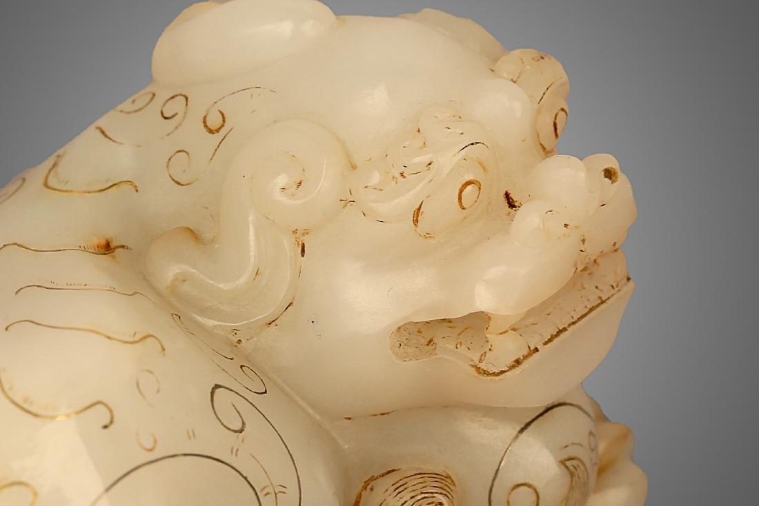 206 BC-220 AD, A AUSPICIOUS ANIMAL WHITE JADE ORNMENT, - 3