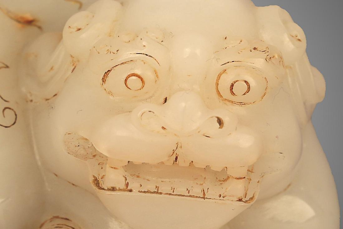 206 BC-220 AD, A AUSPICIOUS ANIMAL WHITE JADE ORNMENT, - 4