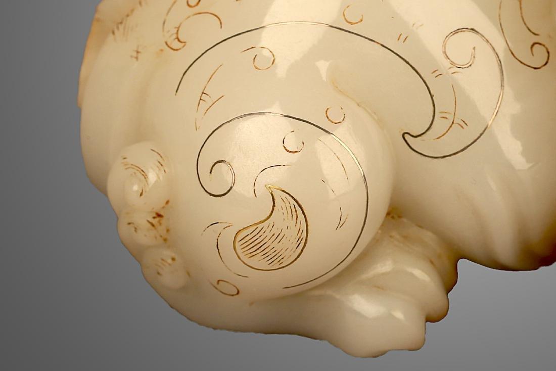 206 BC-220 AD, A AUSPICIOUS ANIMAL WHITE JADE ORNMENT, - 6