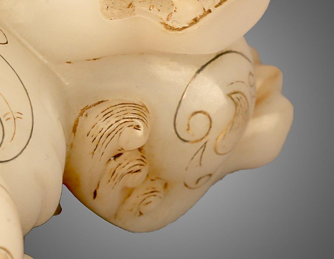 206 BC-220 AD, A AUSPICIOUS ANIMAL WHITE JADE ORNMENT, - 8