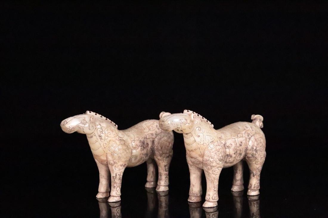 202BC-220AD, A  PAIR OF HETIAN JADE HORSE ORNAMENT ,