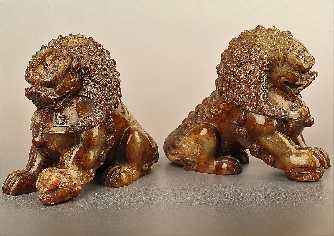 A PAIR OF LION PATTERN HETIAN JADE ORNAMENTS - 2