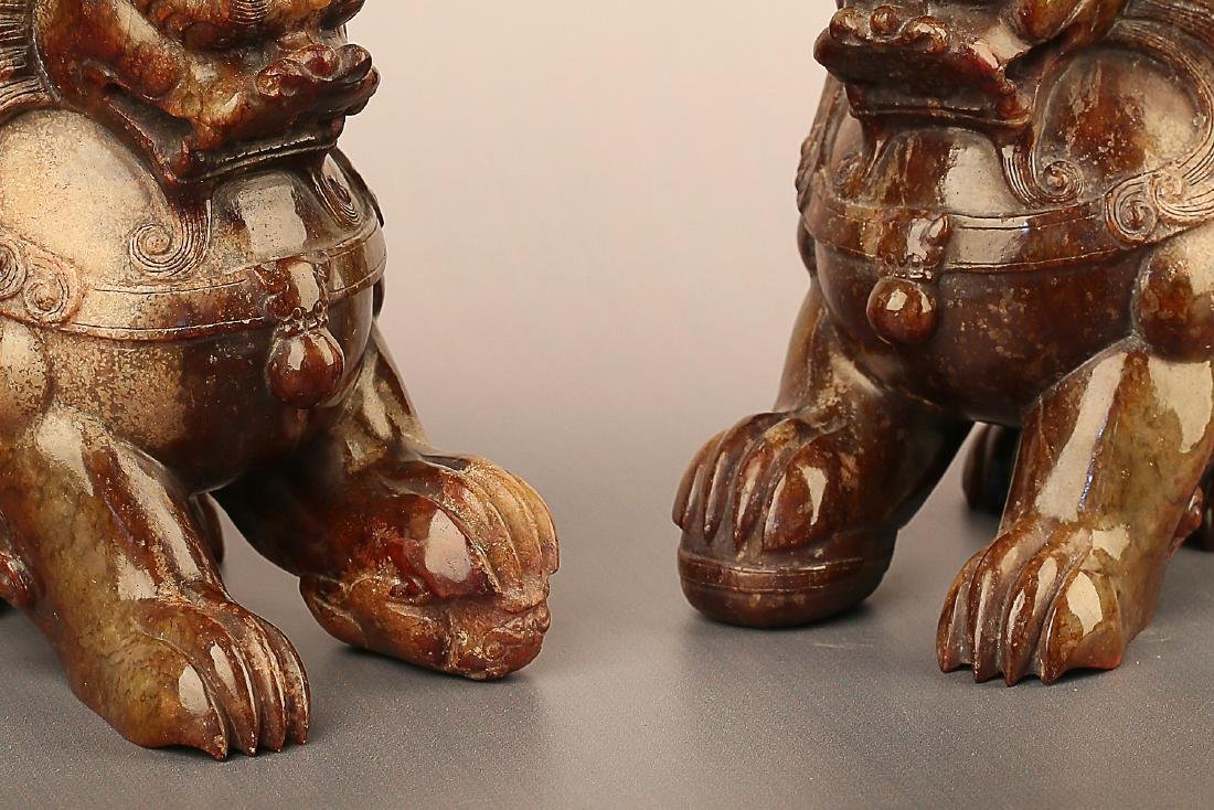 A PAIR OF LION PATTERN HETIAN JADE ORNAMENTS - 6