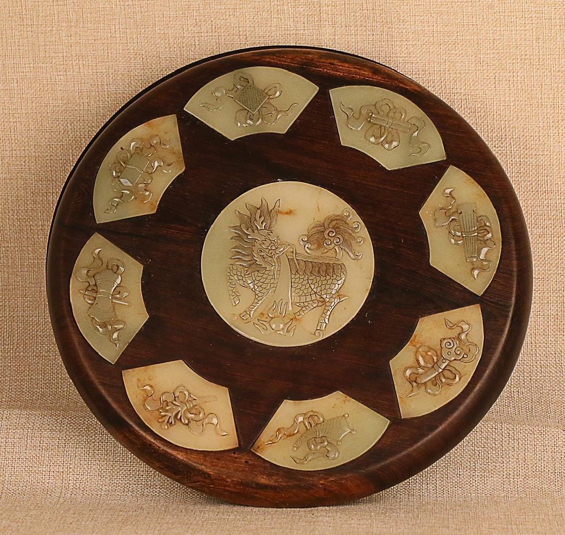 17-19TH CENTURY, A TREASURES INLAY ROSEWOOD BOX, QING - 5