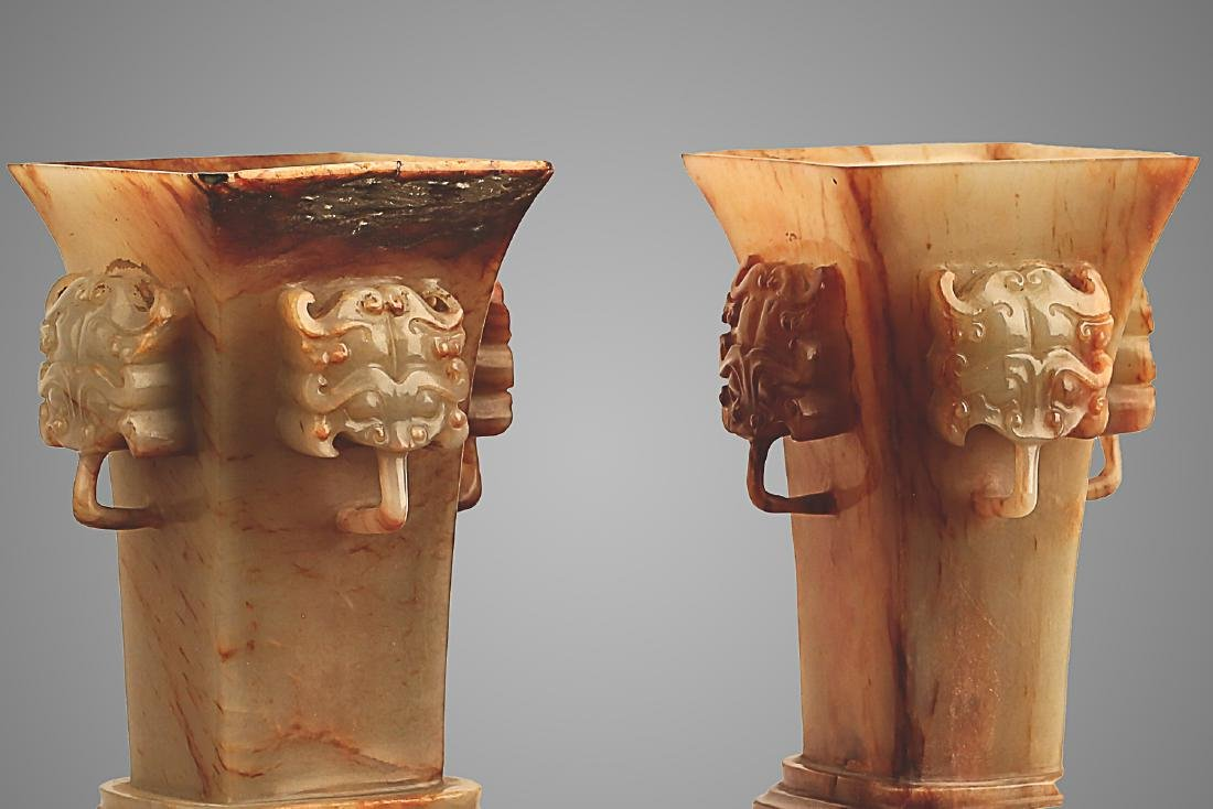 206 BC-220 AD, A PAIR OF BEAST FACE WHITE JADE VASES, - 3