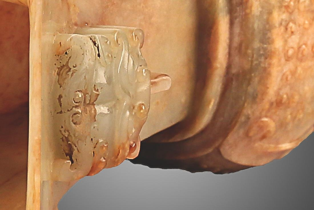 206 BC-220 AD, A PAIR OF BEAST FACE WHITE JADE VASES, - 7