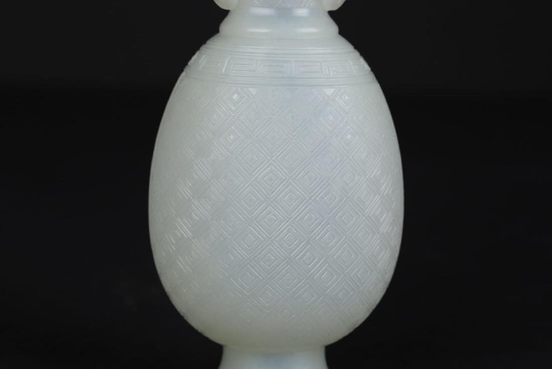 A HETIAN JADE DOUBLE-EAR BOTTLE - 5