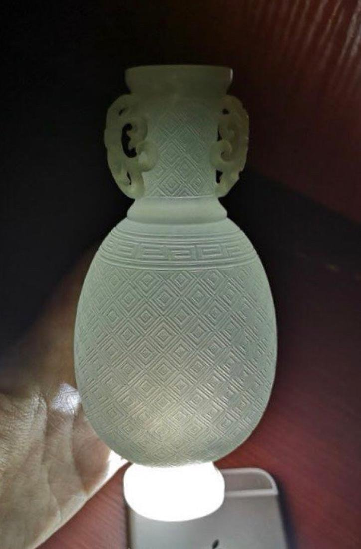A HETIAN JADE DOUBLE-EAR BOTTLE - 9