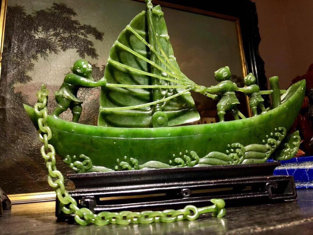 17-19TH CENTURY, A STORY DESIGN HETIAN JADE ORNAMENT, - 2