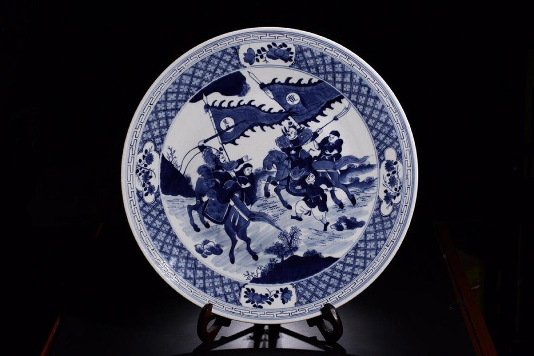 17-19TH CENTURY, A STORY DESIGN PORCELAIN PLATE, QING
