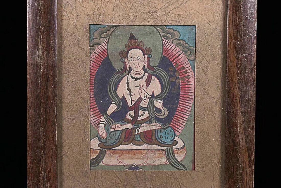 A TIBETAN BUDDHA COLOURED PAINTING - 2